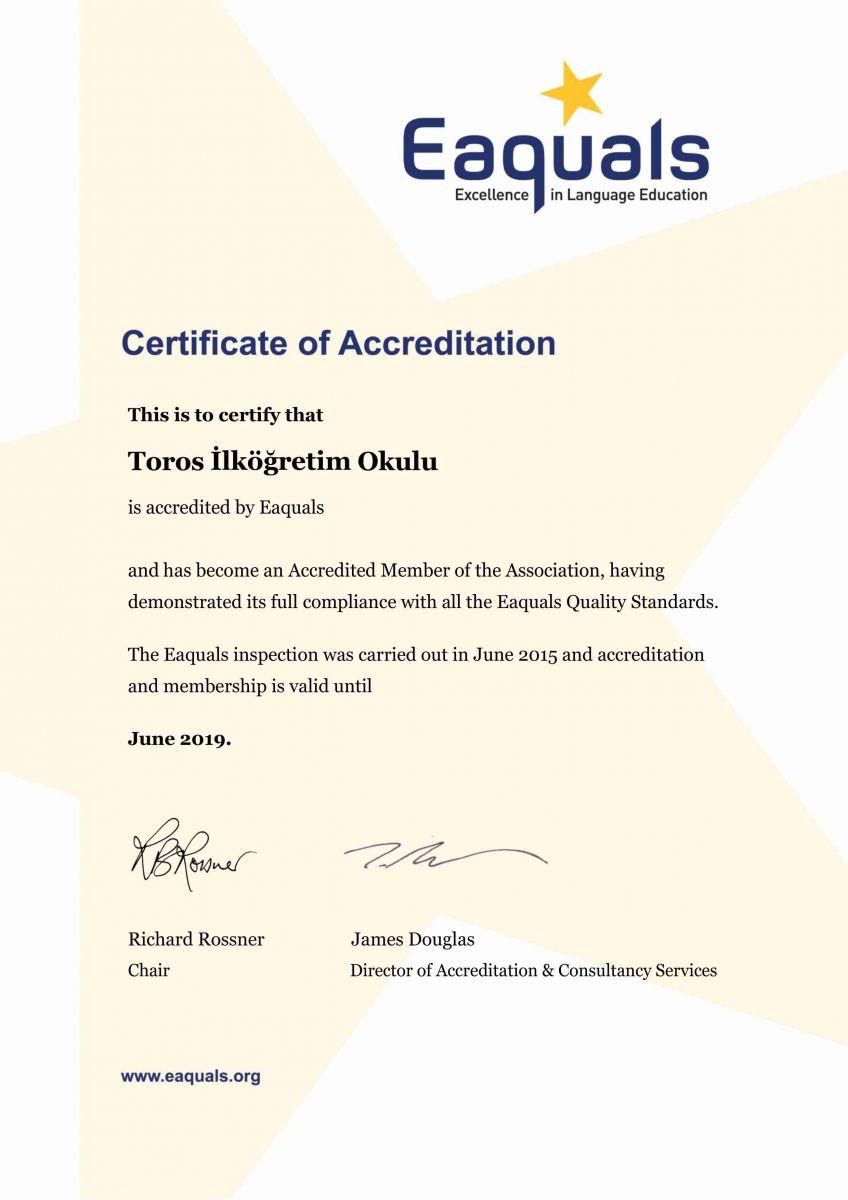 Eaquals Accreditation Certificate