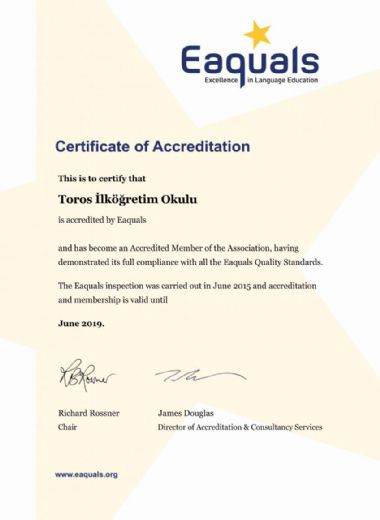 Eaquals Accreditation Certificate